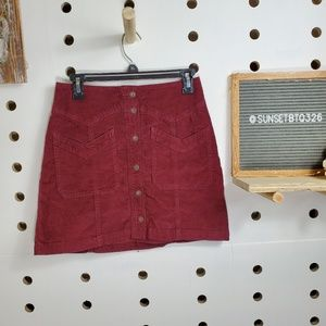 Free People Burgundy Mini Skirt